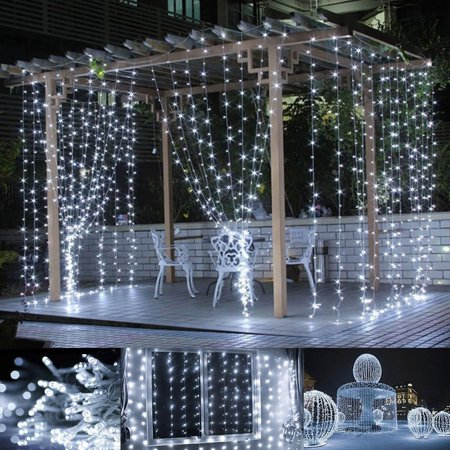 HALLOLURE 9.8ft x 9.8ft 304LED Curtain Light Fairy String Lights Indoor Decoration Hanging Wall Lights For Bedroom Living Room Garden Party Wedding Christmas Xmas Decor 2 Colors ()