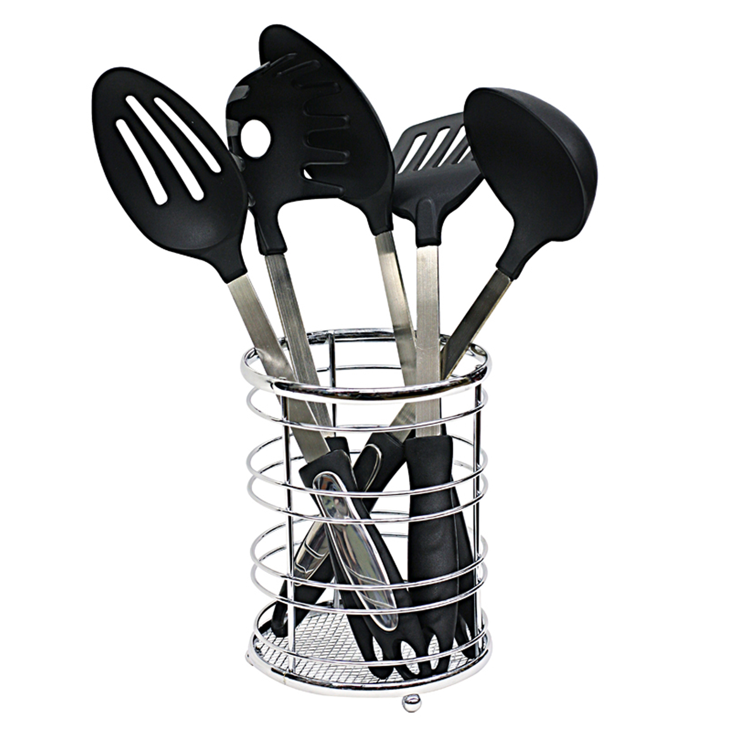 Home Basics Chrome Flat Wire Cutlery and Utensil Holder