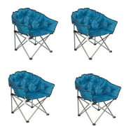 Mac Sports Folding Padded Outdoor Club Chair with Carry Bag, Blue/Black (4 Pack)