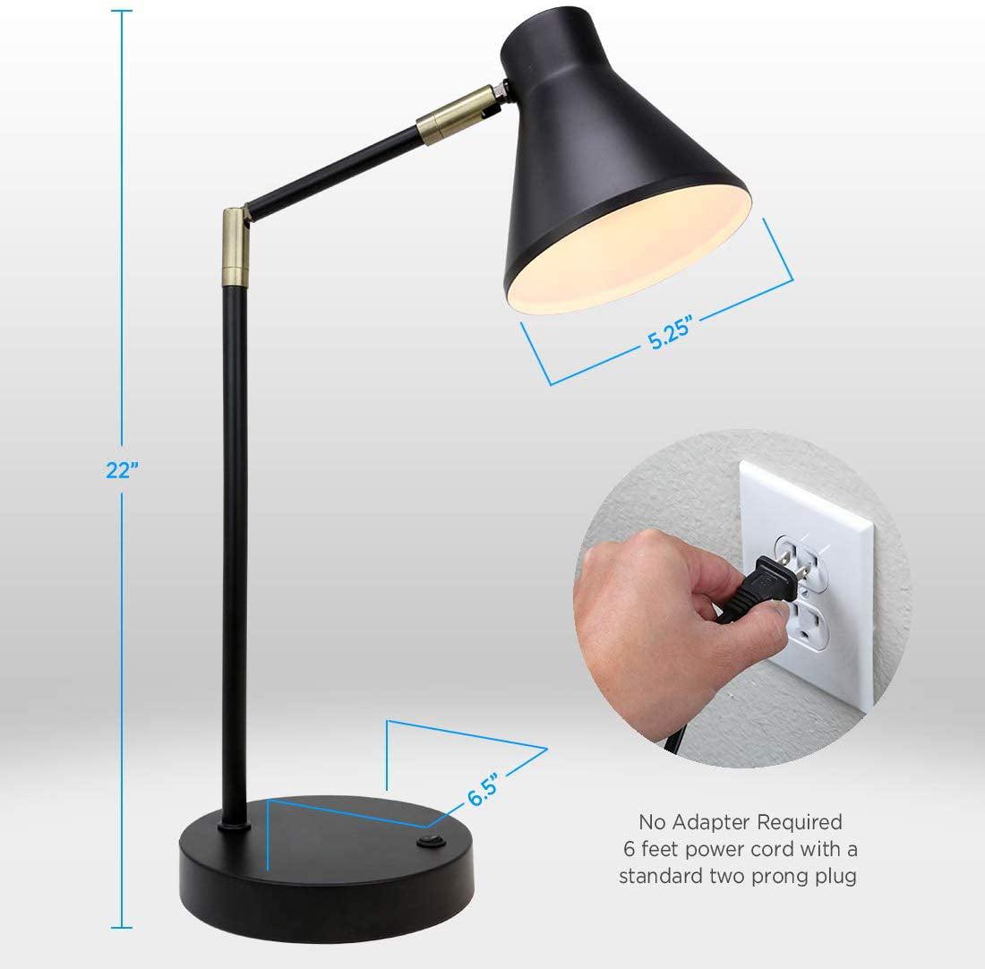 O Bright Led Desk Lamp With Usb Charging Port 100 Metal Lamp 270 Flexible Swivel Arms Soft White Led Reading Light 3000k Bedside Reading Lamp Office Lamp Table Lamp Etl Listed Walmart Com