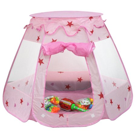 ESYNIC Pop Up Play Tent Girls Princess Castle Playhouse Ocean Ball Pit Pool Indoor Outdoor Garden Pin Indoor Outdoor Pink Playhouse