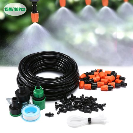 KINGSO 49ft Drip Irrigation Watering Kit Patio Spray Misters Accessories for Outdoor Garden Greenhouse Nozzles Misting Cooling Self Watering Outdoor Garden Hose Kits ()