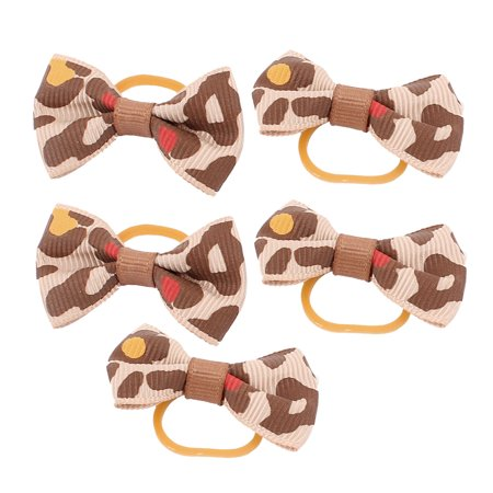 Unique Bargains Pet Dog Leopard Pattern Rubber Hair Grooming Bands Clips Hairpins Brown 5 Pcs