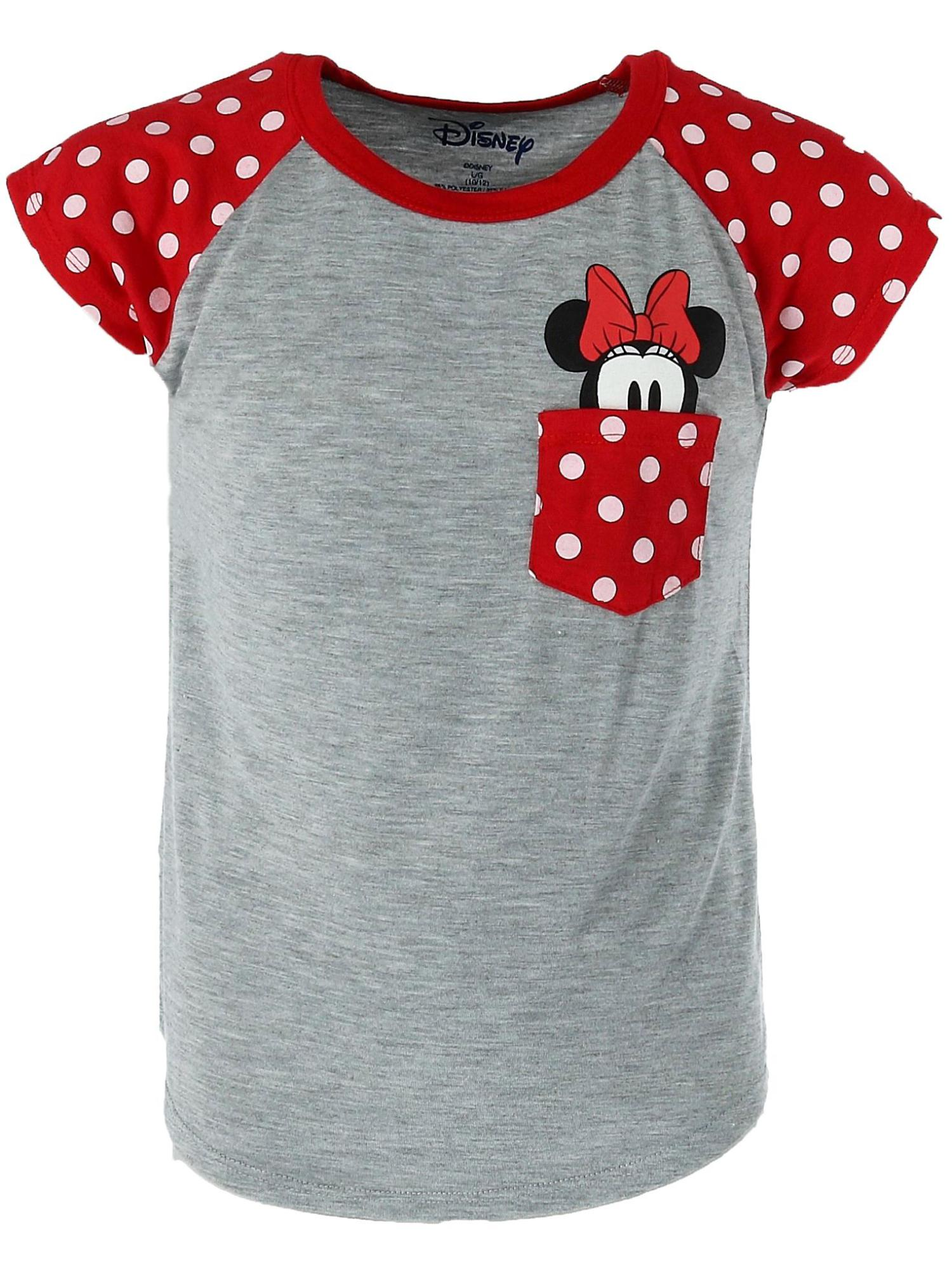 Youth Minnie Mouse Peeking Pocket Tee Shirt,  Light Grey