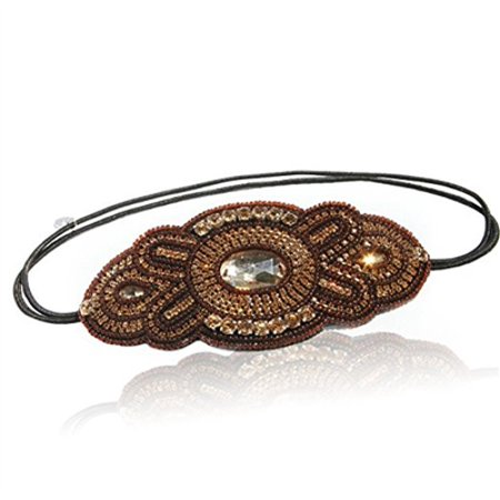 Womens Fashion Headband Gold and Brown Gatsby Beaded Headband. Adjustable Fit's Any Head. Comes with Look Sheet Inspired By Great Gatsby 20's Style by LAC Beauty](Great Gatsby Attire For Ladies)