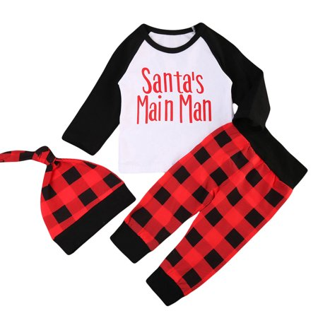 Baby Boys Christmas Outfits Long Sleeve Santa's Main Man T-shirt With Red Plaid Pant 6-12 Months - Christmas Outfit Boys