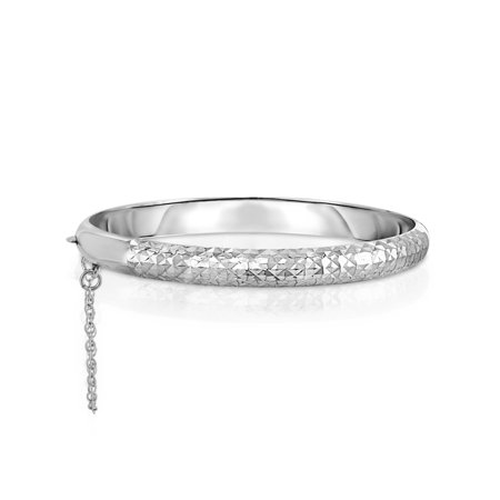 Italian Made Solid Sterling Silver Diamond Cut Filigree Bangle