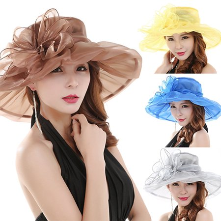 Girl12Queen Women's Fashion Summer Church Kentucky Derby Cap British Tea Party Wedding - Yellow Derby Hat