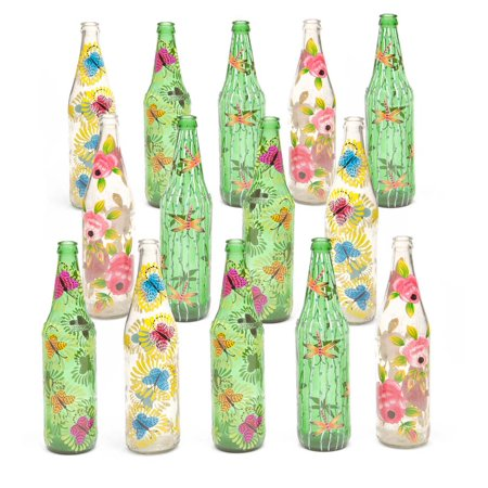 Hand-Painted Glass Bottles, Set of 14 (Hand Painted Glass Goblet)