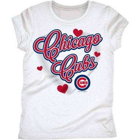 - MLB Chicago Cubs Girls Short Sleeve White Graphic Tee
