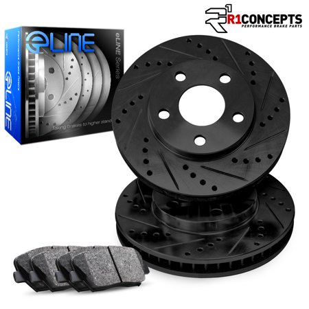 Fits 2007 2008 2009 2010 2011 2012 Mazda CX-7 Front Black Drilled Slotted Brake Disc Rotors & Ceramic (Recommended Oil For 2008 Mazda Cx 7)