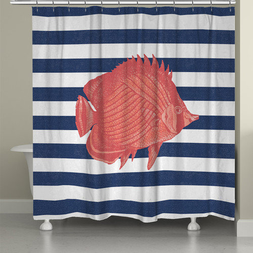 Laural Home Fish Stripe Shower Curtain