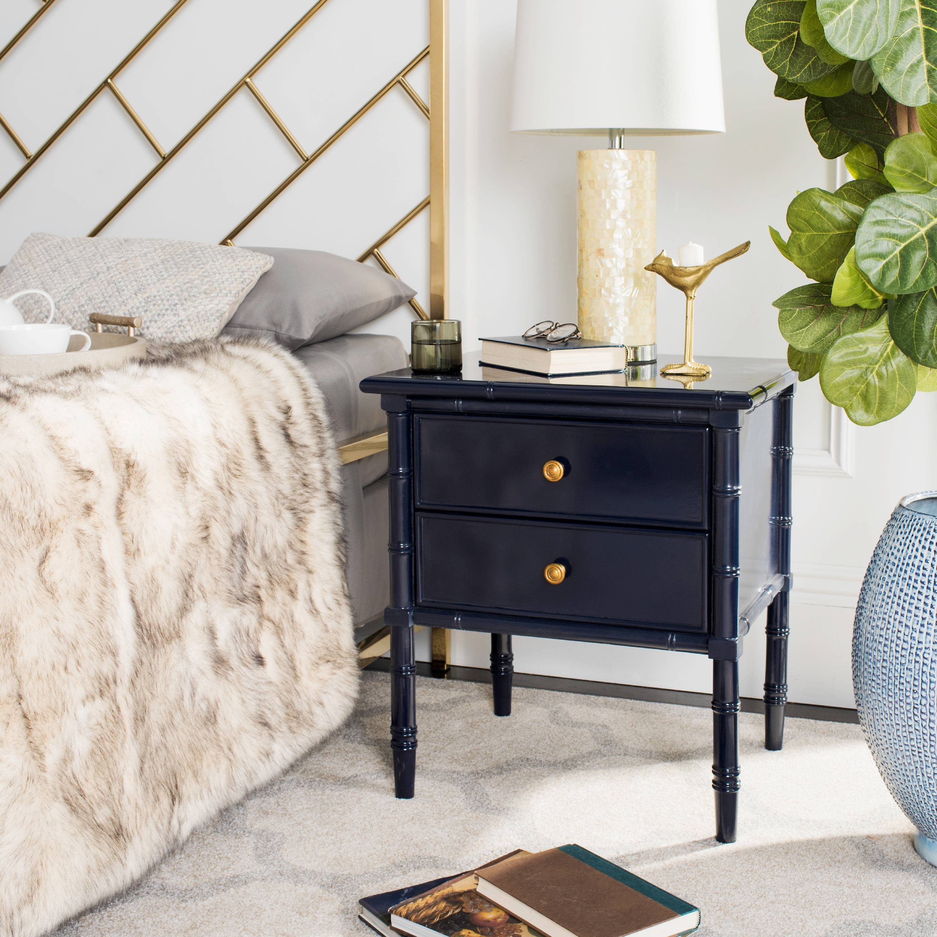 Safavieh Mina 25 in. 2-Drawer Modern Coastal Bamboo Nightstand
