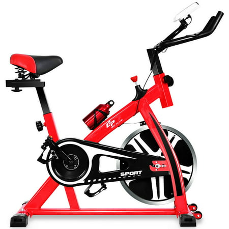 Costway Adjustable Exercise Bike Bicycle Cycling Cardio Fitness LCD w/ 18lb Flywheel