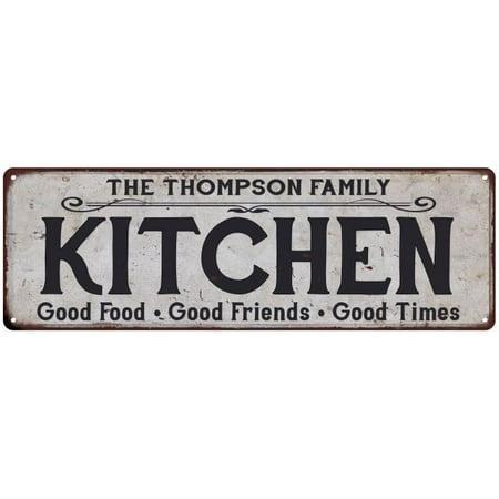 THE THOMPSON FAMILY KITCHEN Vintage Look Metal Sign Chic Decor Retro 6184247