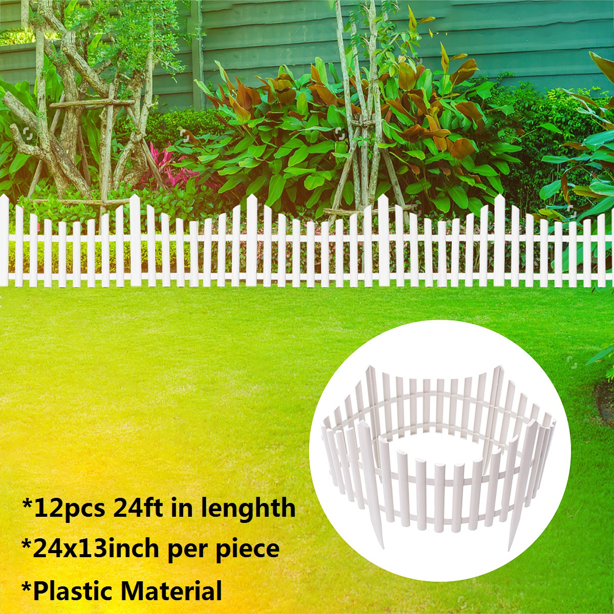 7.32m /24FT Garden Border Fencing Fence Pannels Outdoor Landscape Decor  Edging Yard 12 Pack