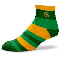 Baylor Bears For Bare Feet Women's Rainbow Fuzzy Quarter-Length Socks - No Size
