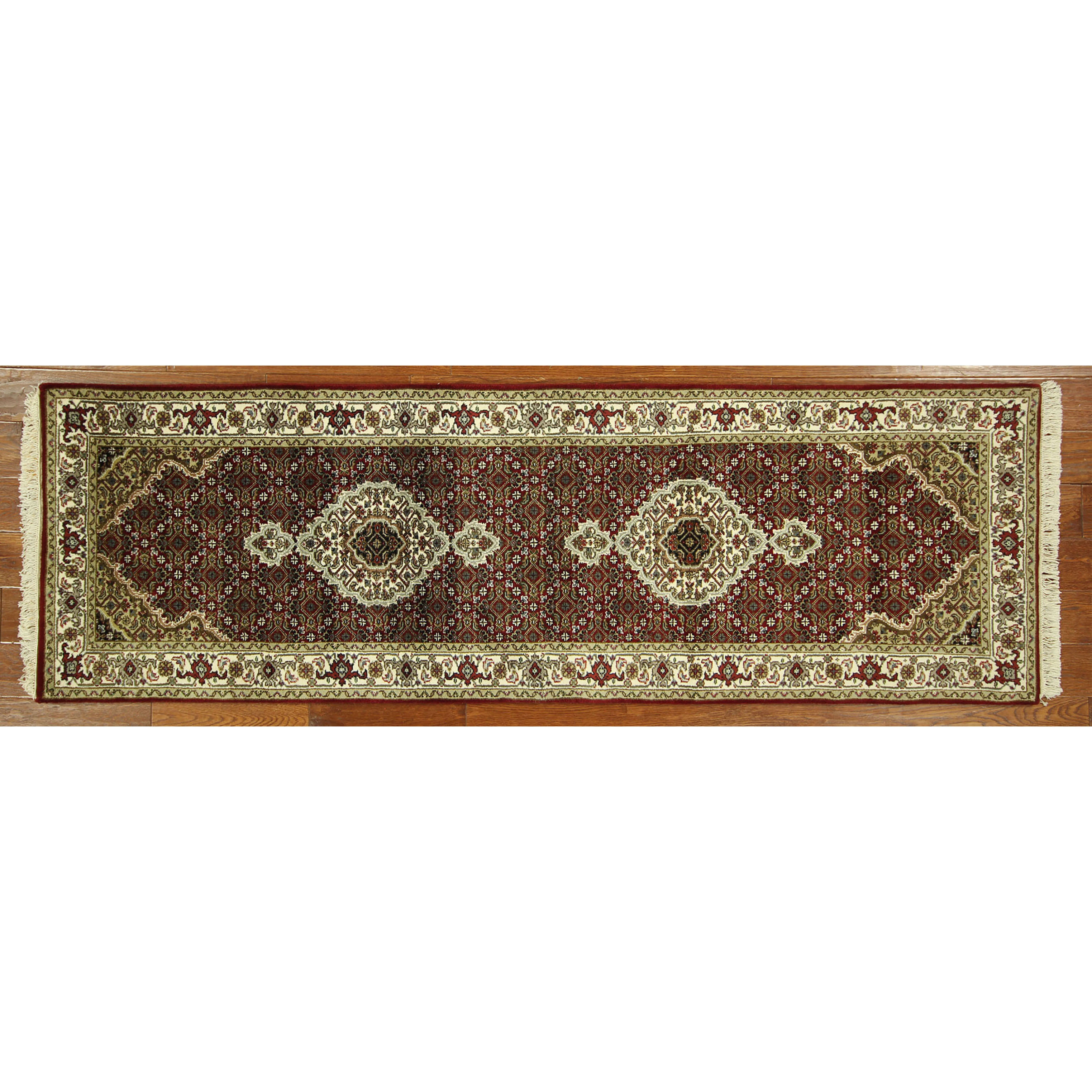 Manhattan Rugs H5295 Unique Tabriz Hand-knotted Wool and Silk Red Oriental Area Rug (3' x 8')