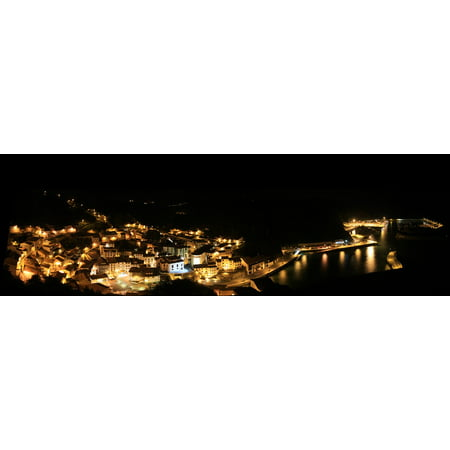 LAMINATED POSTER City Pear Lights Port People Panoramic Night Poster Print 24 x 36