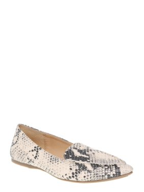 Women's Time and Tru Animal Print Feather Flat (Wides Available)