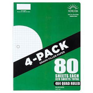 "Norcom 4-Pack Quad Filler Paper, 80 Sheets, 4x4 Quad Ruled, 10.5"" x 8"""