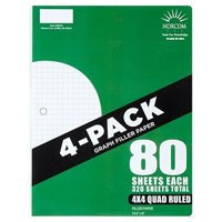 norcom 4 pack quad filler paper 80 sheets 4x4 quad ruled 105