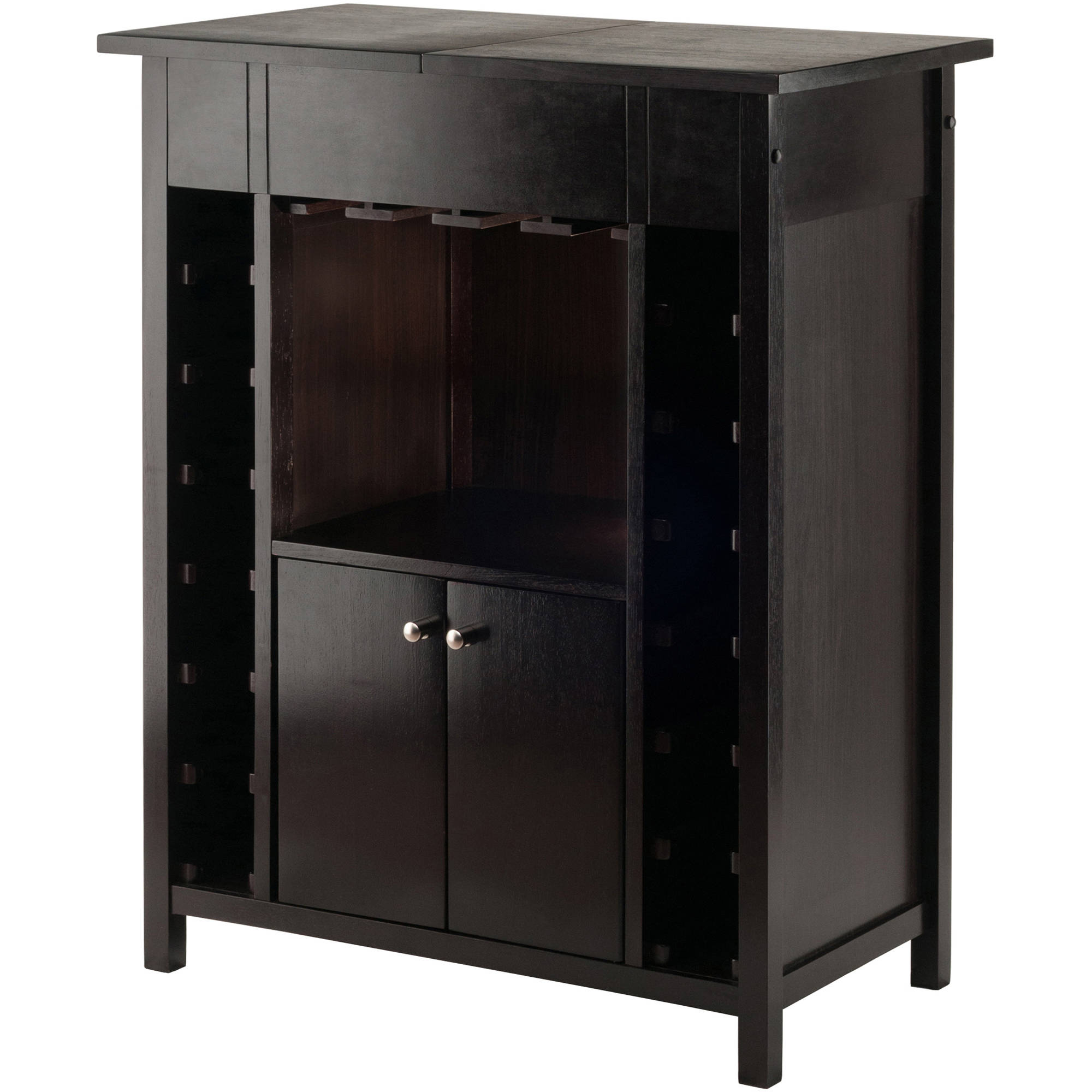Winsome Wood Yukon Display Wine Cabinet with Expandable Top, Espresso