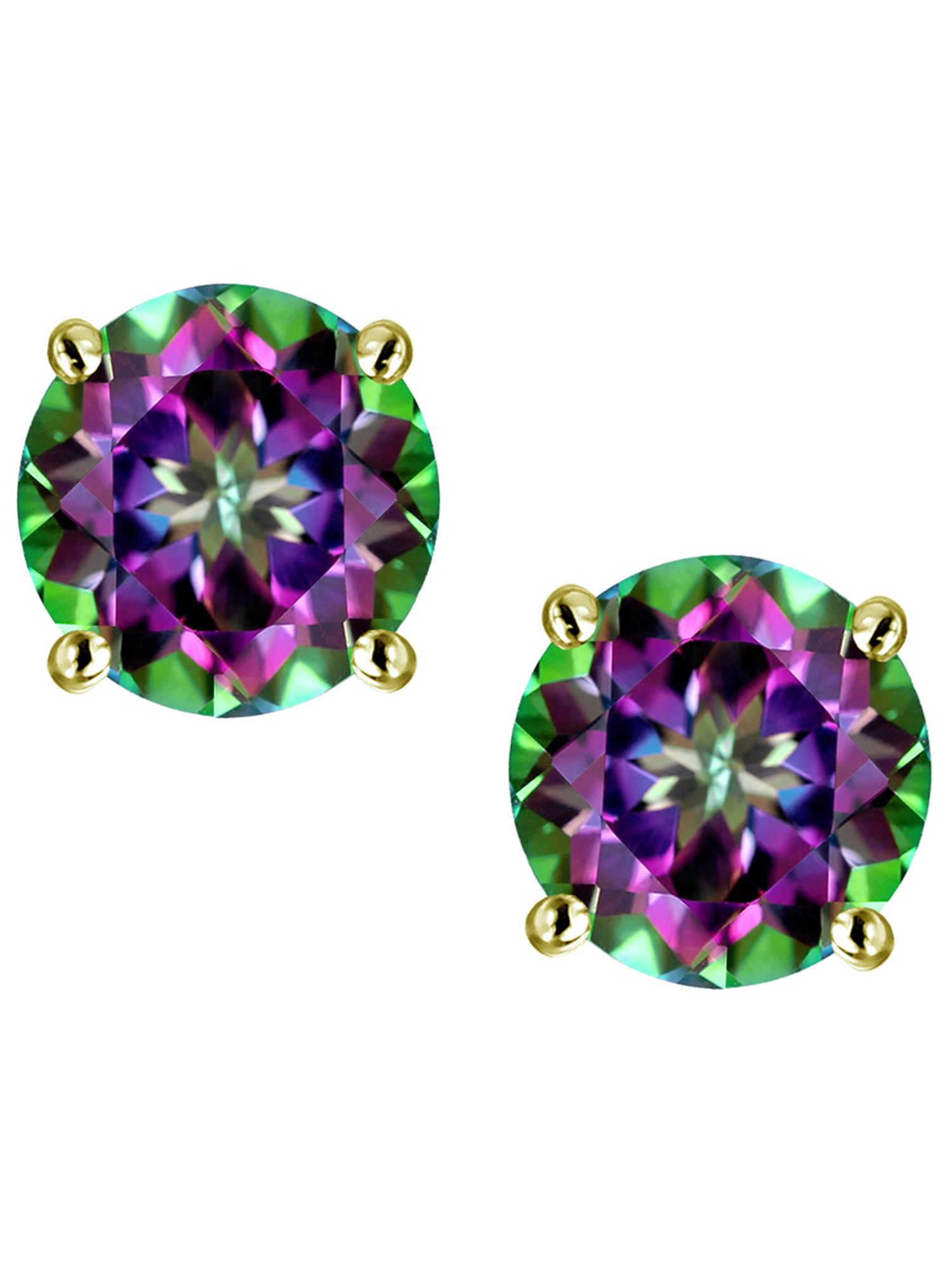 Star K 7mm Round Rainbow Mystic Topaz Classic Stud Earrings in 14 kt Yellow Gold