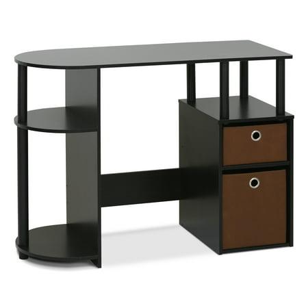 Furinno JAYA Simplistic Computer Study Desk with Bin Drawers, Espresso (Small Desk Locking Drawer)
