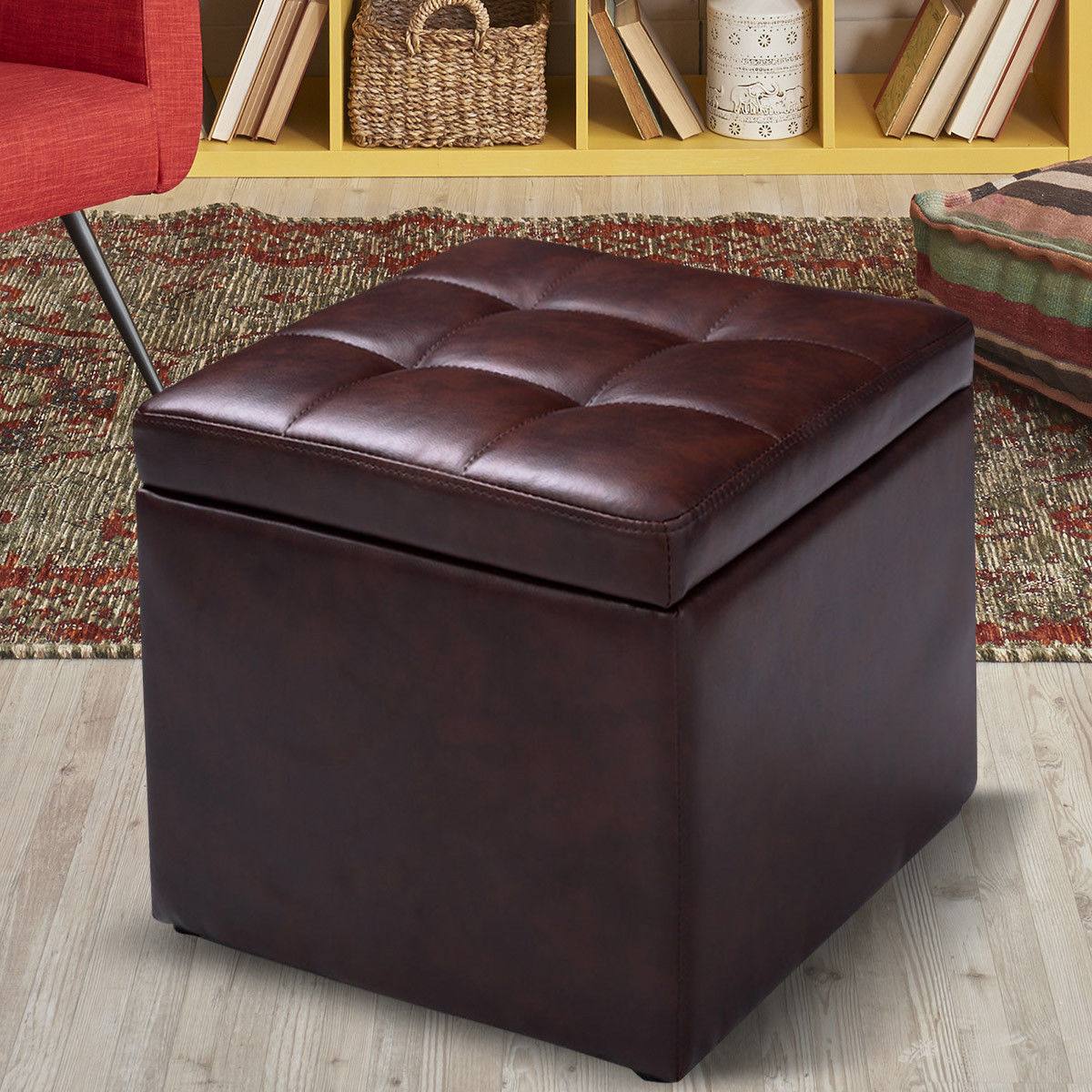 Costway Cube Ottoman Pouffe Storage Box Lounge Seat Footstools with Hinge Top brown by Costway