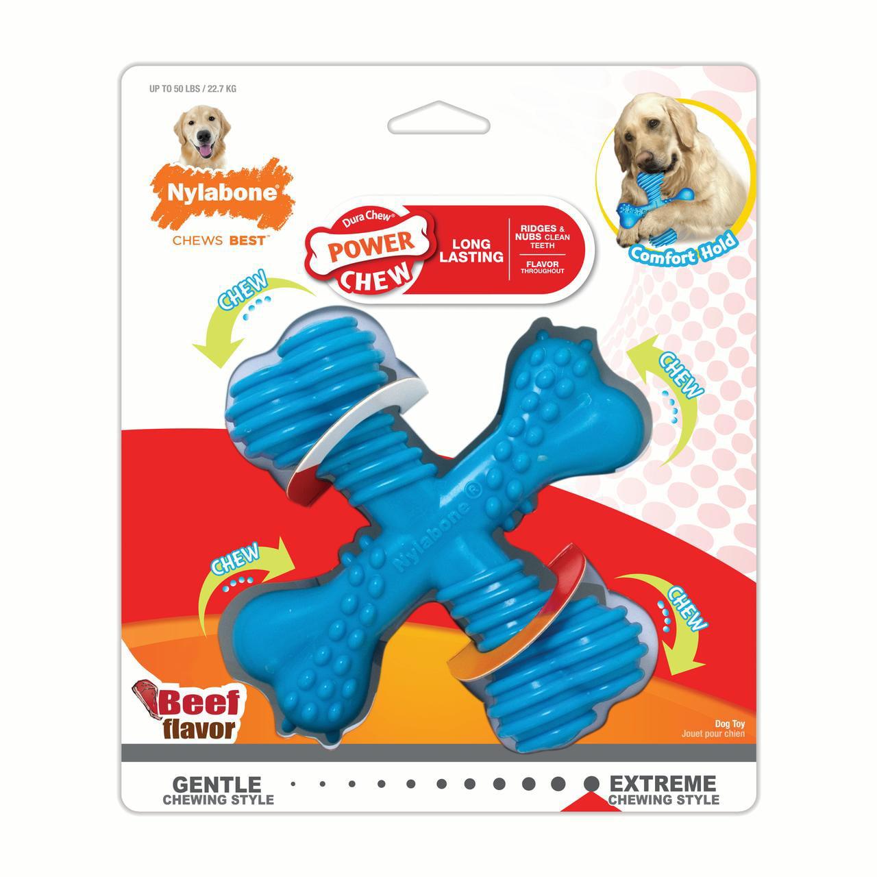 Nylabone Power Chew Dura Chew X Bone Dog Chew Toy, Beef