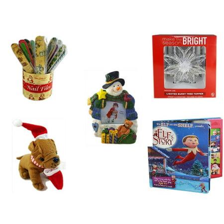 Christmas Fun Gift Bundle [5 Piece] - 20   Themed Nail Files (Assrt) - Deck The Halls Lighted Burst Silver Tree Topper - Battery Lighted  Snowman Photo Frame -  Santa Bulldog  5
