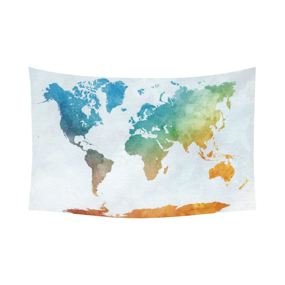 GCKG Colorful Watercolor World Map Tapestry Wall Hanging Abstract Art Splatter Painting Wall Decor Art for Living Room... by GCKG