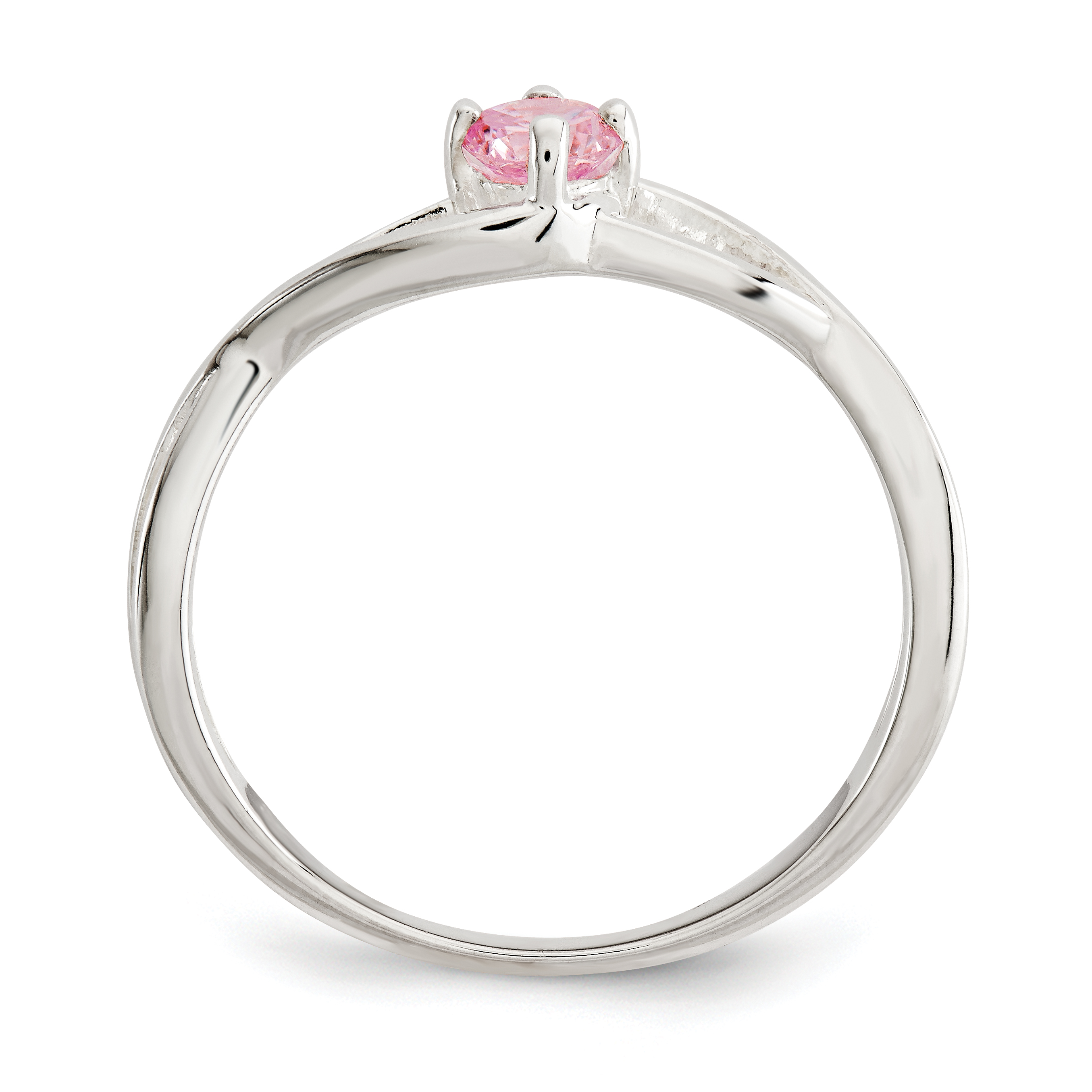 925 Sterling Silver Pink Cubic Zirconia Cz Sol Band Ring Size 6.00 Fine Jewelry Gifts For Women For Her - image 1 of 3