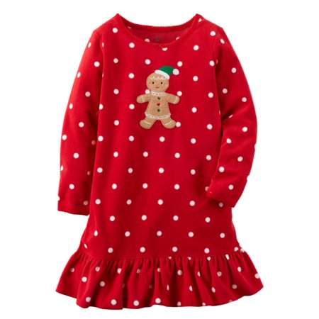 11387b221 Carters - Carters Girls Red Dot Gingerbread Man Nightgown Holiday ...