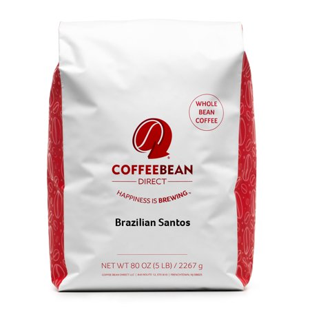 Coffee Bean Direct Whole Bean Coffee, Brazilian Santos, 5 Lb