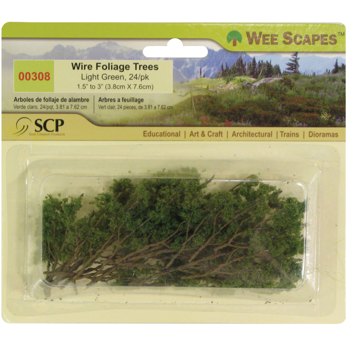 """Wire Foliage Trees 1.5"""" To 3"""" 24/Pkg-Light Green"""
