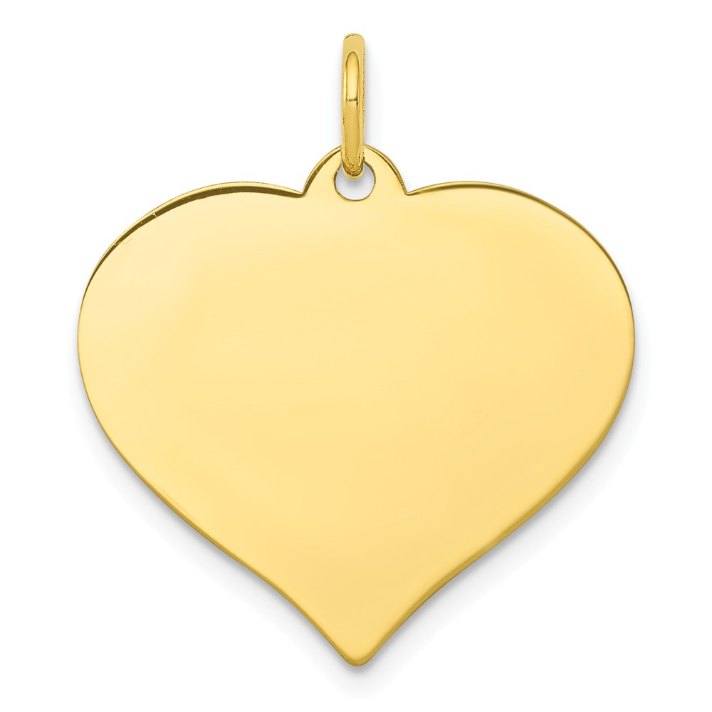 10k Yellow Gold Engravable Heart Disc Charm (1in long x 0.8in wide)