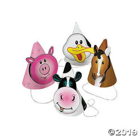 Farm Party Die Cut Cone Hats - Farm Hats