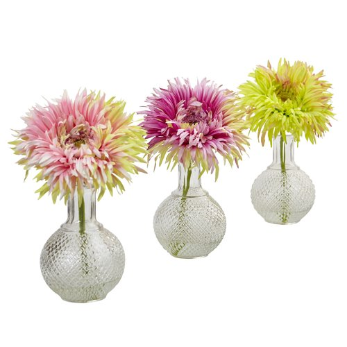 Nearly Natural Daisy Floral Arrangements in Decorative Vase (Set of 3)