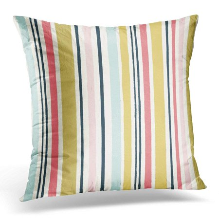 CMFUN White Strip Simple Pattern with Stripes Fills Colorful Color Pillow Case Pillow Cover 20x20 inch