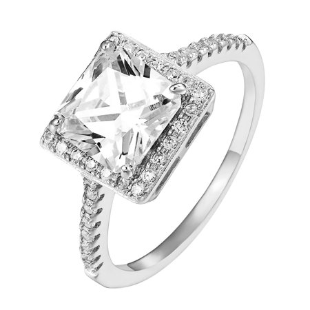 .925 Sterling Silver Womens Wedding Princess Cut Ring Cubic Zirconia Engagement Bridal