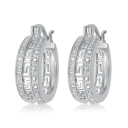 Luxurious 0.02 Cttw Natural Diamond Accent Greek Key Hoop Earrings In 14K White Gold (14k Gold Greek Key Earrings)