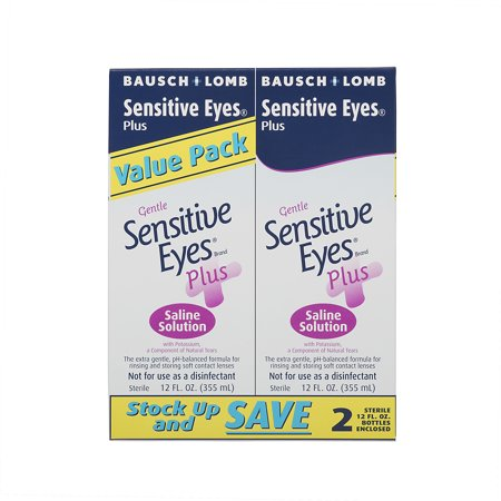 Bausch & Lomb Gentle Sensitive Eyes Plus Saline Solution Value Pack, 12 fl oz, 2 count