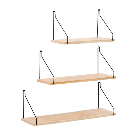 Solid Wooden Wall Shelf Iron Partition Board Bedroom TV Wall Hanging Storage Shelf Rack for Home & Living Room Decoration