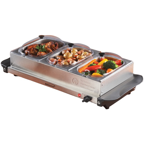 Brentwood Appliances BF-315 Triple Buffet Server with Warming Tray and Three 1.5 qt Steel Pans