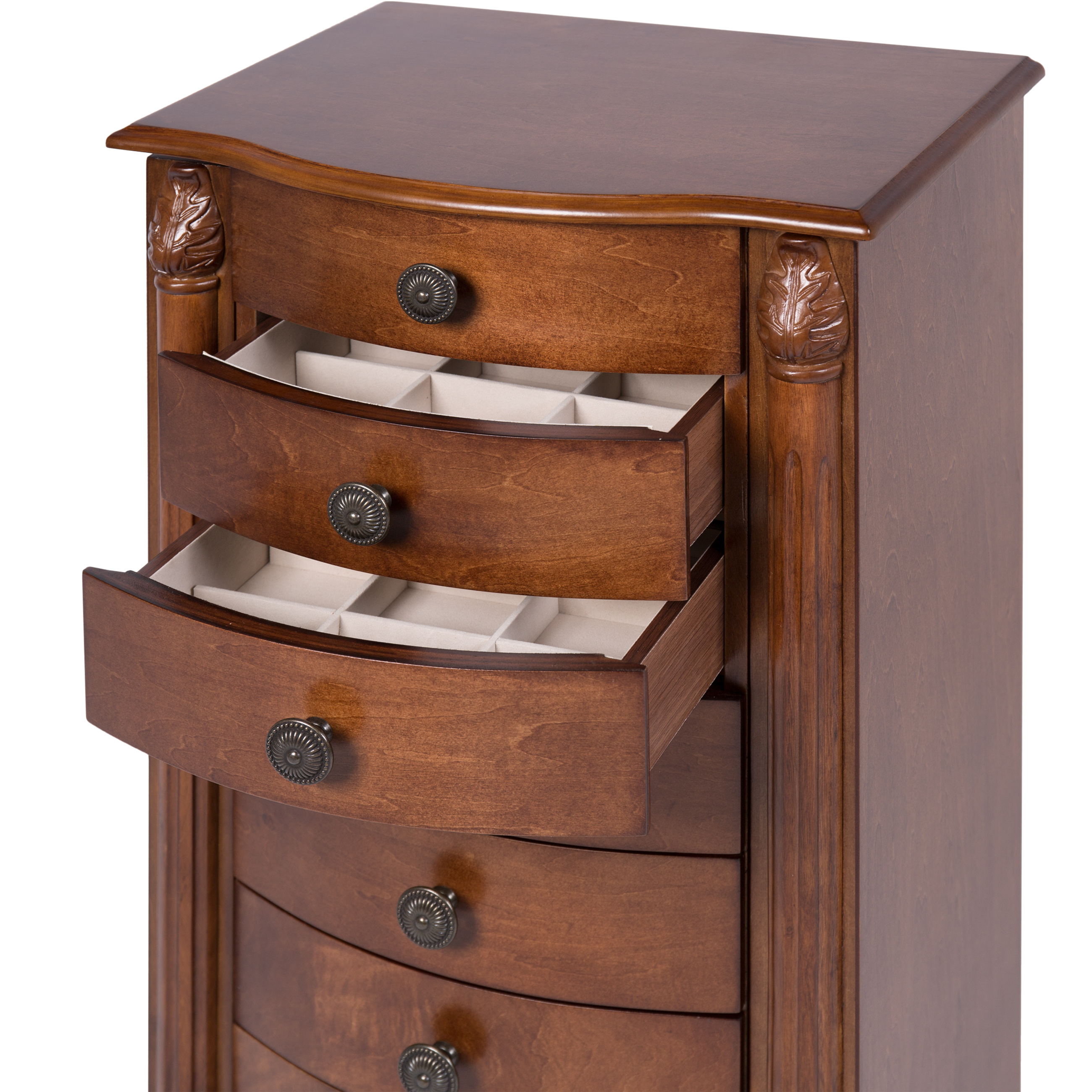 Armoire Jewelry Cabinet Box Storage Chest Stand Organizer Necklace Wood  Walnut   Walmart.com