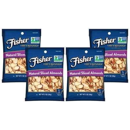 (4 Pack) Fisher Chef's Naturals Sliced Almonds, Non-GMO, 2 (Tagua Nut Slices)