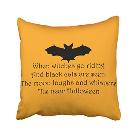 Winhome Halloween Quotes Black Bat Yellow Background Decorative Pillow Cover With Hidden Zipper Decor Cushion Two Sides 20x20 Inches