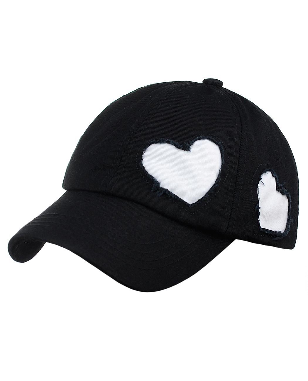 C.C Women's Heart Cut Design Cotton Unstructured Precurved Baseball Cap Hat, Black